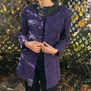 Vintage beaded purple knee length coat